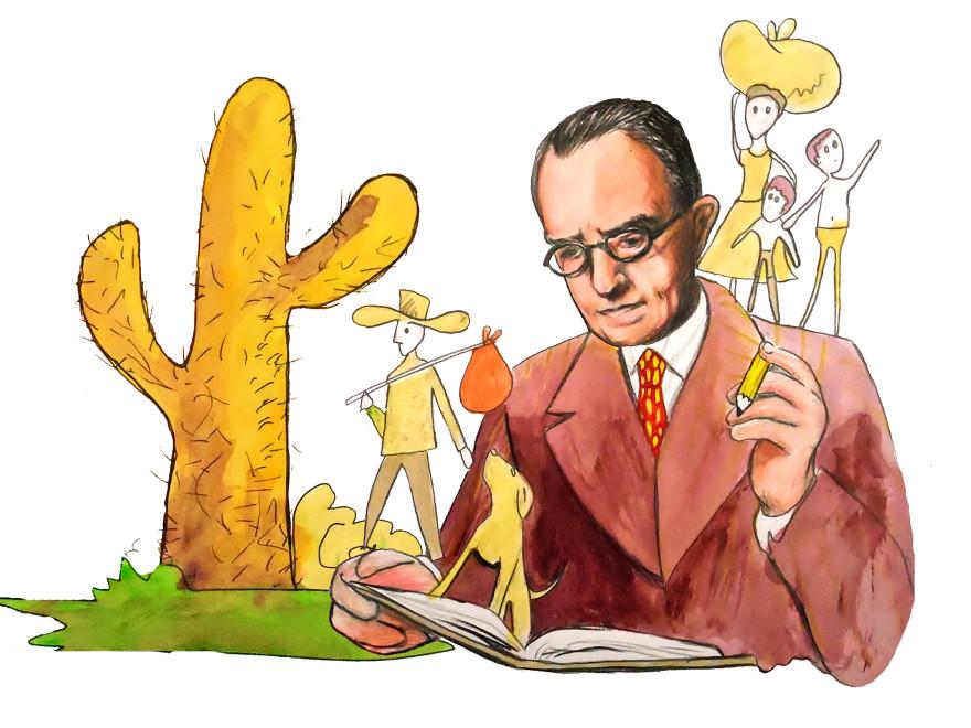 O escritor Graciliano Ramos, ilustração do alagoano Fellipe Ernesto